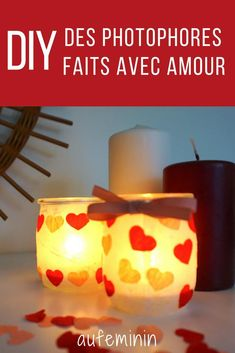 DIY : un joli photophore rempli d'amour Valentine's Day, grandmothers' day here is a simple DIY to m Homemade Valentines, Valentines Day, Grandmother's Day, Saint Valentine, Evening Meals, Tea Light Holder, Diy For Kids, Tea Lights, Diy And Crafts