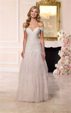 2016 Off Shoulder Lace & Tulle #Wedding Dress ♥ Whimsical Lace & Tulle Slim A-Line Gown with a Sexy Sweetheart Neckline, Lace Off Shoulder Straps, Lace Fitted Bodice Through Hips with a Cascading Lace Dropped Waistline, Lightly Padded Bust Cups and Interior Boning, Gathered & Layered Razor Cut Tulle A-Line Skirt, Brush Train, Back Covered Buttons Over Hidden Zipper. #romanticweddingdress #2016weddingdresses #offshoulder #lace #tulle #bridalgowns #gorgeousweddingdress #beautifulweddingdresses