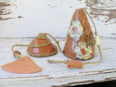 Yellow flower bell wind chime yard pottery clay handmade art