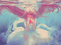 angel girl, anime girl, anime, kawaii, water, aoshiki