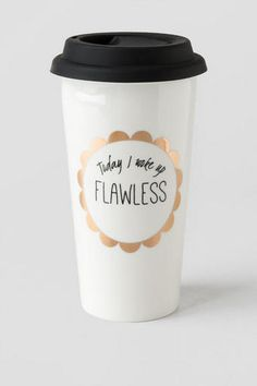 Today I Woke Up FLAWLESS! Enjoy your morning coffee or tea in this fun & inspirational travel mug!<br /> <br /> - 15 oz ceramic cup<br /> - Silicone lid<br /> - Double walled<br /> - Food safe<br /> - Hand wash only<br /> - Imported<br /> Coffee Love, Coffee Cups, Thermos, Cute Water Bottles, Drink Bottles, Cute Cups, Cute Little Things, Ceramic Cups, Mug Cup