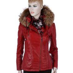 Veste cuir femme rouge bordeau – Vêtements élégants modernes