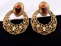 Vintage 1928 Rose filigree Hoops Earrings by by SHOPTILLYOUDROPNOW, $20.00