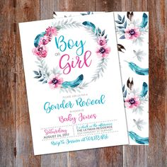 Boy or Girl Gender Reveal invitation, Gender Reveal Party invitation, Baby reveal, Gender reveal, He or She, Boho invitation, Pink or Blue by LMNDesignStudio on Etsy https://www.etsy.com/listing/546863413/boy-or-girl-gender-reveal-invitation