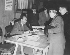 Photograph: Registration at the Jewish Refugee Committee Offices in Woburn House.