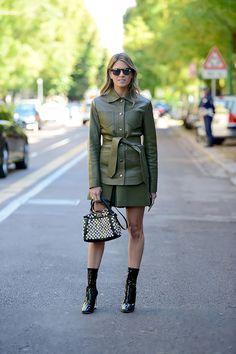 Helena Bordon in military green and Fendi embellished Peekaboo bag in Milan