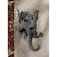 Gothic Single Horned Guardian Dragon Home Garden Medieval Wall Sculpture