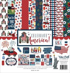 Patriotic Fireworks 4th of July FLAG Scrapbook Stickers 2 LARGE Sheets!