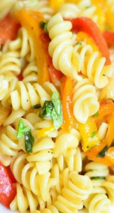 Roasted Bell Pepper and Garlic Pasta Salad