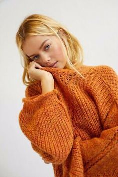Tunic Sweater, Sweater Jacket, Pullover Sweaters, Oversized Sweaters, Basic Outfits, Casual Outfits, Orange Sweaters, Orange Fashion, Knitwear