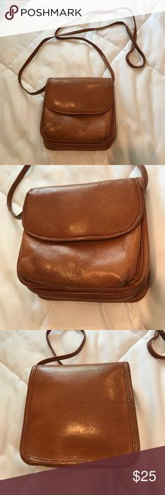 "Small Brown Leather Crossover Bag Small Brown Genuine Leather Crossbody Bag. Pocket on outside flap. Bag measures about 5.5"" x 5.5"". Preloved and has some ware but overall in really great shape. Bags Crossbody Bags"