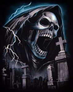 ~ † Screaming Grim Reaper In The Grave Yard † ~ Grim Reaper Art, Grim Reaper Tattoo, Don't Fear The Reaper, Dark Fantasy Art, Dark Art, Tattoo Crane, Reaper Quotes, Totenkopf Tattoos, Skull Pictures