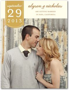 Save the Date Postcards Romantic Tab - Front : Smoke