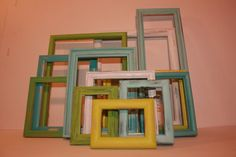 Aqua Turquoise Seafoam Blue Bright Lime Green White Picture Frames Shabby Chic Wall Gallery Collection Set Beach Cottage Photo Coastal Spa