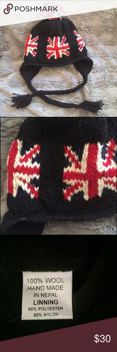 """British Union Jack Hat 100% Wool Union Jack hat with braids made in Nepal, bought in London. Fully fleece lined-so no itch!  Small/Med Woman's, or children's large. Measures 10"""" flat across. Adorable! Accessories Hats"""