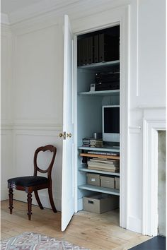 Study Painted In Farrow & Ball All White And Light Blue Farrow Ball, Farrow And Ball Paint, Best White Paint, All White, White Paints, Terence Conran, Interior Architecture, Interior And Exterior, Craft Rooms