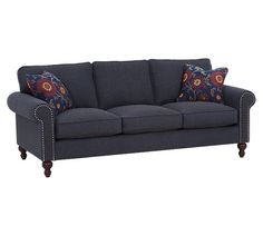 Don't mess with trying to coordinate black or brown - navy goes with everything. Case in point: the modern-traditional Rowe Bleeker 3 Cushion Sofa. Cushions On Sofa, Couch, Heart Place, Modern Traditional, Sleeper Sofa, Industrial Furniture, Victorian Homes, Sofas, Family Room