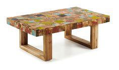 Mesa de centro madera reciclada Hauss   Mesa de centro en mosaicos de madera de teca multicolor.... Eur:355 / $472.15