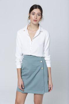 JUPE ELLA - SAUGE Denim Skirt, Mini Skirts, Fashion, Nice Legs, Salvia, Sustainable Fashion, Spring, Moda, Fashion Styles