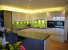 Bespoke Kitchen Glass Splashback. www.glass-houseuk.co.uk Glass Splashbacks, Aluminium Windows And Doors, Bespoke Kitchens, Glass Kitchen, Clear Glass, Kitchen Design, Kitchen Cabinets, Decorating, Furniture