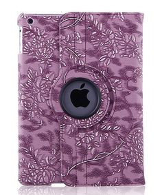 Loving this Purple Floral Embossed Faux Leather Rotating Case for iPad on #zulily! #zulilyfinds
