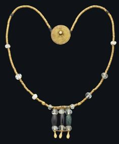 A WESTERN ASIATIC GOLD, ROCK CRYSTAL AND STONE BEAD NECKLACE  CIRCA 2900-2800 B.C.