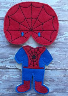 """Spider Boy or spiderman inspired Felt Set from my """"Unpaper Felt Dolls Share"""" collection Listing for doll clothes outfit only Suit and Mask by cabincraftycreations on Etsy"""