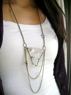 Majesty - vintage style natural crystal clear quartz Long necklace