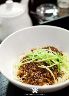 """{""""Zha Jian Noodle"""" served dry with Spicy Pork Mince, Tofu Sauce and Cucumber Julienne}"""