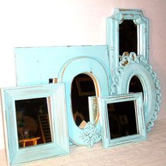 6  Distressed Robins Egg Blue Wall Mirrors by DirtRoadDecor