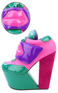 christian louboutin Kiss Me Lip round-toe wedges | cosmetics ...