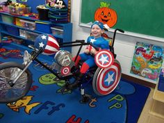 Capt. America on his motorcycle (wheelchair)!
