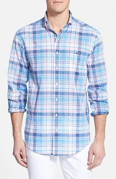 Vineyard Vines 'Gunwale' Classic Fit Plaid Cotton Poplin Sport Shirt available at #Nordstrom