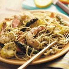 Pesto Shrimp Pasta Toss Recipe from Taste of Home -- shared by Fran Scott of Birmingham, Michigan