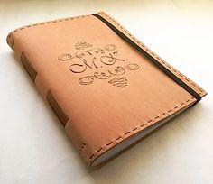 Personal leather notebook - kožený zápisník A5 s iniciálkami / leather / pyrography / pattern / bookbinding / leather work / handmade / Slovakia /initials / long stitch binding
