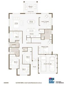 Oceanic Floorplan- Dale alcock Dream House Plans, House Floor Plans, My Dream Home, Future House, My House, Porch Bed, One Story Homes, Double Garage, Display Homes