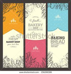 Bread vertical vintage banners. Vector illustration - stock vector