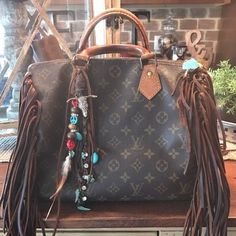 0d59e9aebe8c Louis Vuitton Speedy 30 Monogram Handbag. Upcycled. Fringed. Boho!