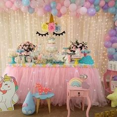 Here's a different version of a Here's what you need: ✨ Pink tutu table cloth ✨ White sheer drape curtain… Unicorn Themed Birthday Party, Baby Girl 1st Birthday, Girl Birthday Themes, First Birthday Parties, Birthday Party Decorations, 5th Birthday, Fiesta Theme Party, Unicorn Baby Shower, Etsy