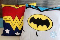 Wonder Woman and Batman Vintage Decorative Pillow by MomoGearShop