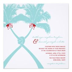 Knot Palm Trees Beach Tropical Wedding Modern Chic Invitation