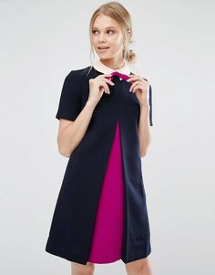 c5682a6a1de Ted Baker Wonce Tunic Dress with Contrast Pleat Front at asos.com