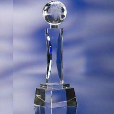 SPINNING GLOBE GLASS AWARD TROPHY..  Size: 248x75x75mm. Minimum Quantity: 1