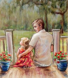 """Father Daughter, """"Rainy Day..Just Daddy and Me"""" by Laurie Shanholtzer Print, Pastel, Print /canvas"""