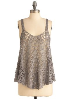Weaving in Wonder Top - Mid-length, Casual, Boho, Vintage Inspired, 70s, Grey, Solid, Crochet, Tank top (2 thick straps), Summer