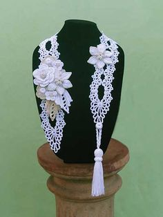Irish crochet in a beautiful modern piece. Wear it in the spring to accent a simple dress or in the winter over a sweater. Crochet using size 3 cotton cotton or 2 strands of size 10, giving you the ease of crocheting with yarn, but the durability and beauty of thread.