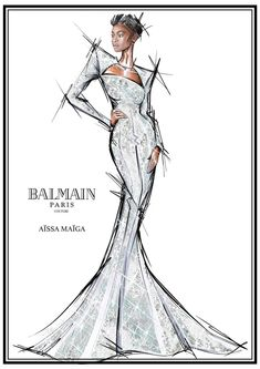 Balmain's Olivier Rousteing on Being Inspired by the Women of the New Documentary My Profession Is Not Black - Vogue Fashion Model Sketch, Fashion Design Sketchbook, Fashion Design Drawings, Fashion Sketches, Fashion Illustration Face, Illustration Mode, Fashion Illustrations, Fashion Photography Poses, Fashion Photography Inspiration