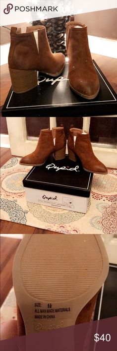 Chestnut booties Cupid brand, chestnut oil finish suede booties. NWT Shoes Ankle Boots & Booties