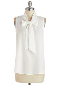 Business Trip Bliss Top in White - White, Sleeveless, Sheer, Chiffon, Woven, Solid, Tie Neck, Work, Daytime Party, Spring, Summer, Better, W...