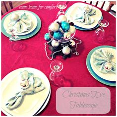 Christmas Eve Tablescape: Red, Turquoise and Silver | Come Home For Comfort